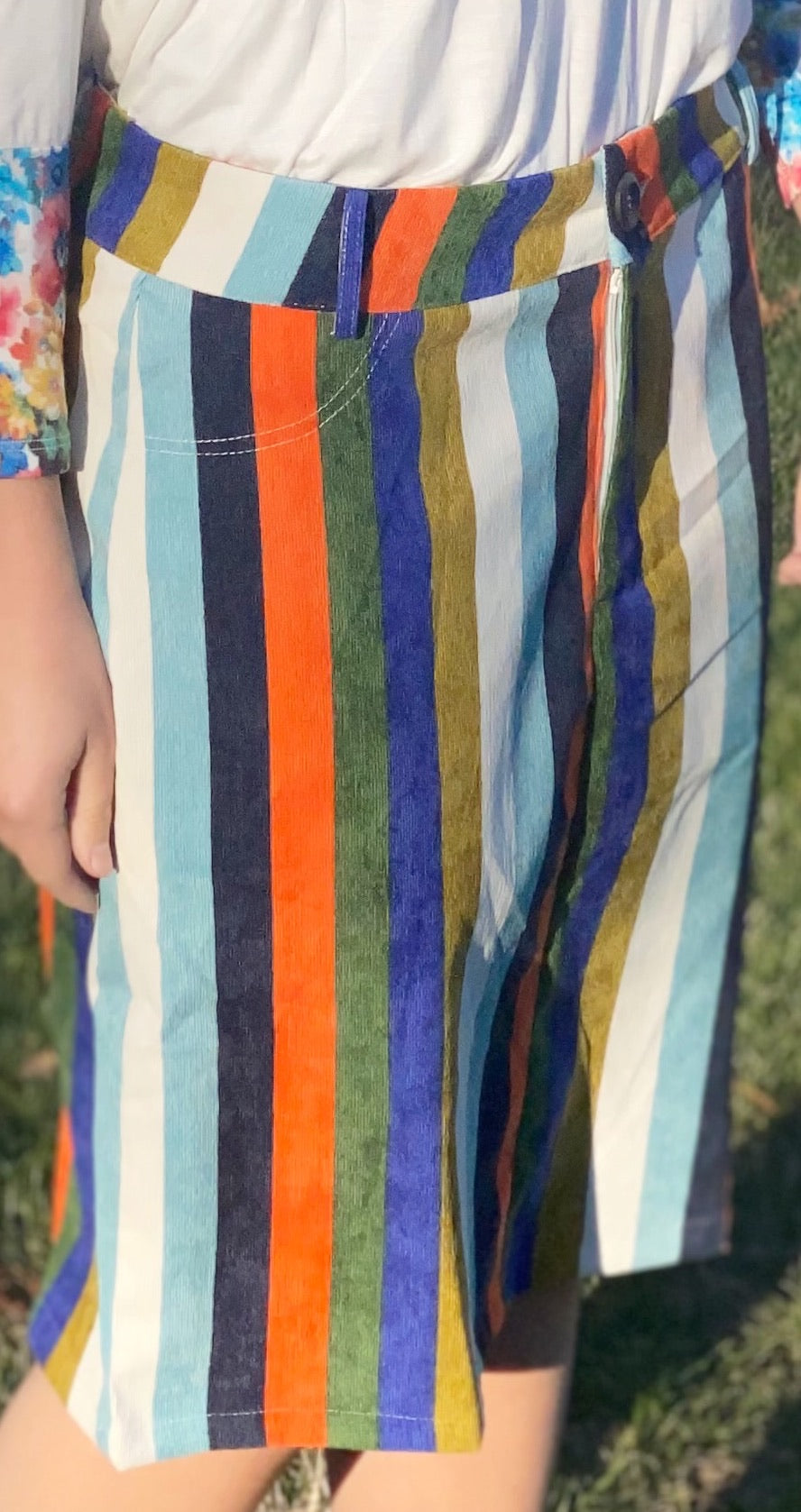 Striped Corduroy Skirt