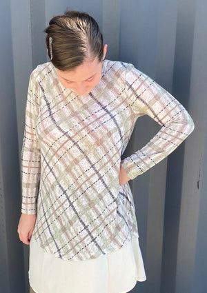 Tan & Olive Plaid Tunic