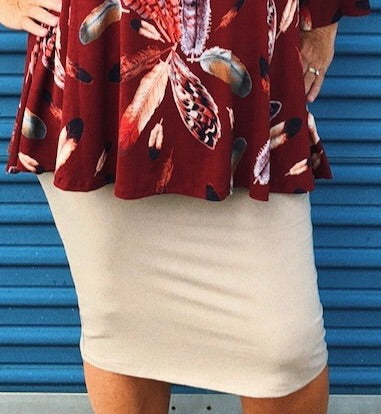 Tan TShirt Pencil Skirt