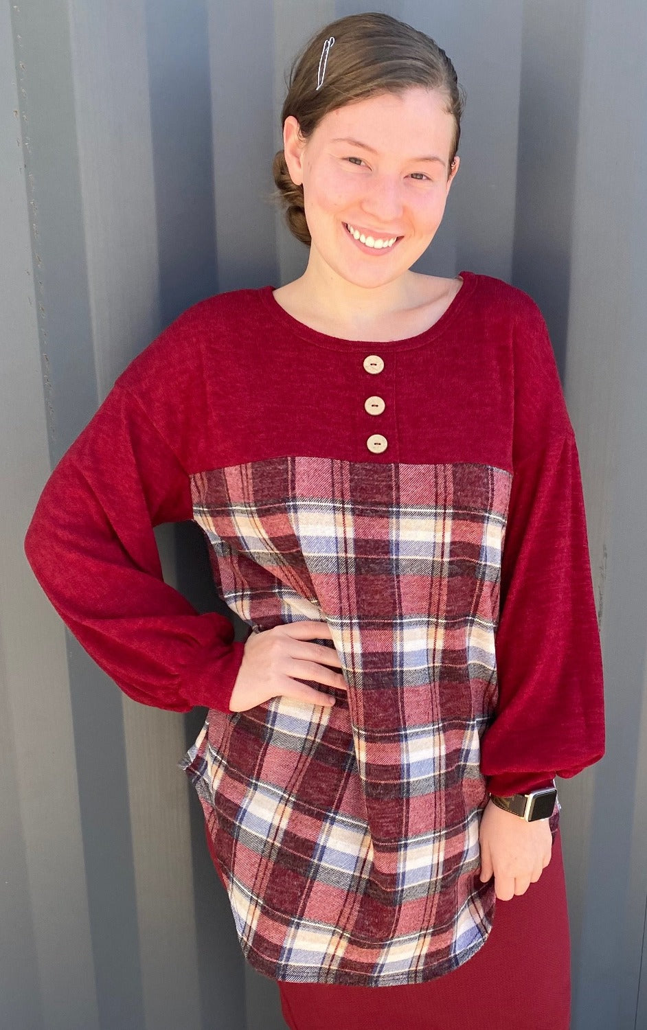 Burgundy Plaid Sweater