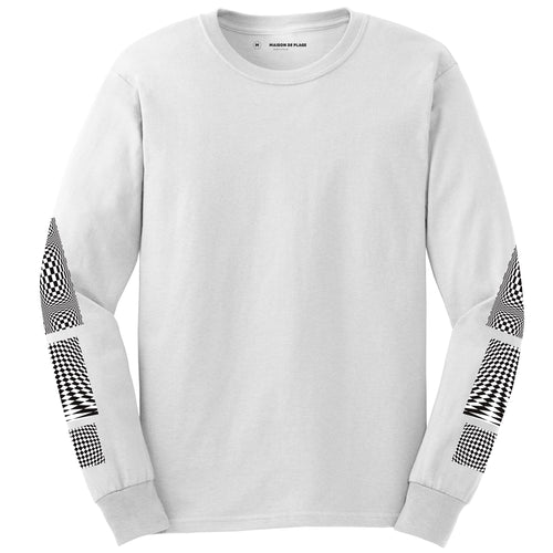 White Op-Art L-S T-shirt