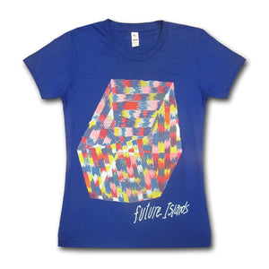 Ladies Royal Blue Rice Cube T-shirt