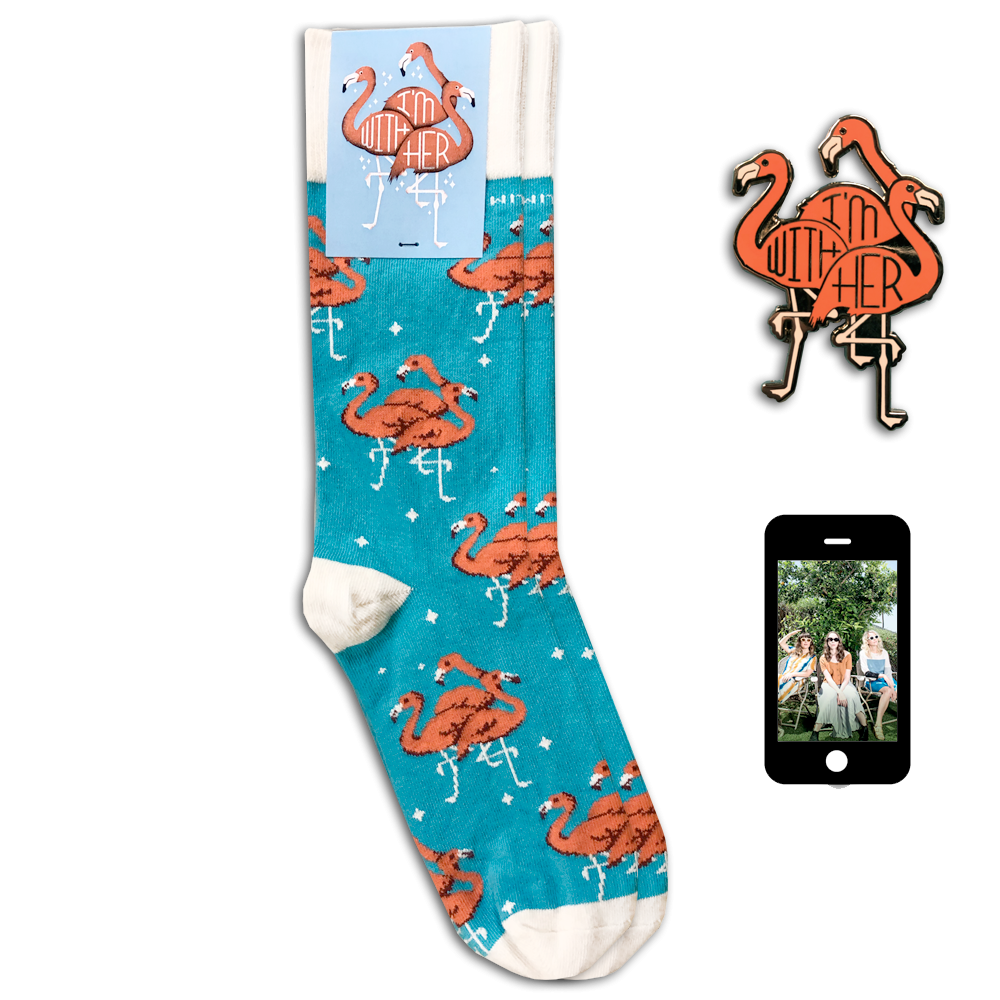 Flamingo Pin + Socks + Digital Download