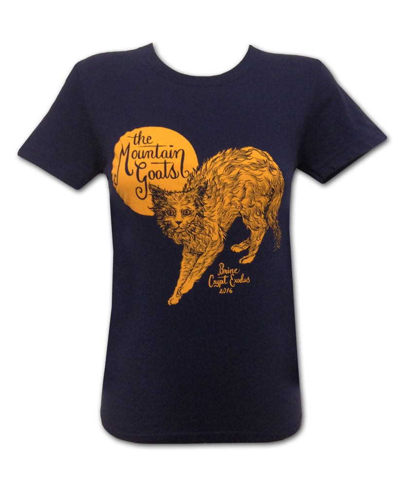 Women's Orange Cat on Navy T-shirt