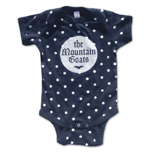 White Bat on Polka Dot Navy Onesie