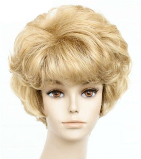 Hair Marvel Ella Short Curly Golden Bangs Blonde Hair Full Capless Wig