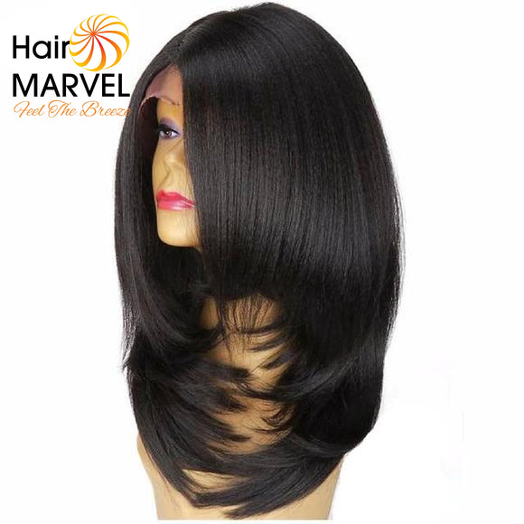Hair Marvel Mariah Premium Black Layered Long L Part Italian Yaki  Lace Front Wig