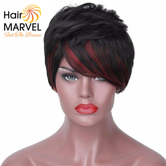 Hair Marvel Ruth Black And Red Streaked Pixie Cut Wig