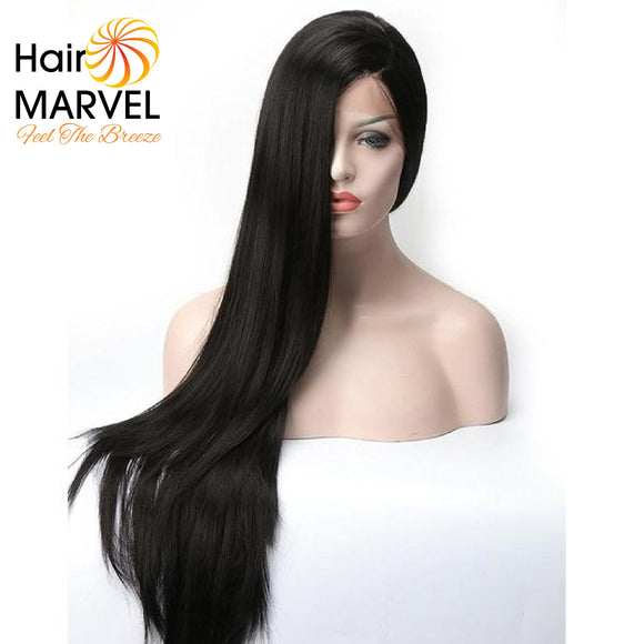 Hair Marvel Eva Soft Sleek Straight Lace Front L Part Long Black Wig