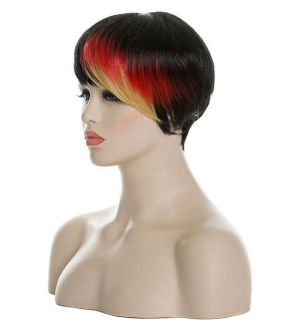 Hair Marvel Blaze Multi Highlights Reds Blonde  Ombre with Bangs Wig