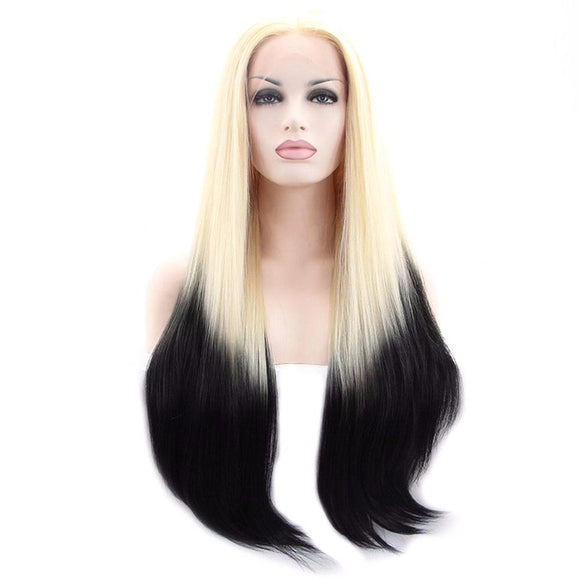 Hair Marvel Madison Long Straight Blonde Black Two Tone wig