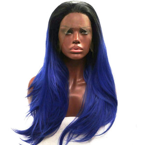 Hair Marvel Blue Ivy Ombre Hair with Dark Roots Silky Straight Synthetic Lace Front Wig