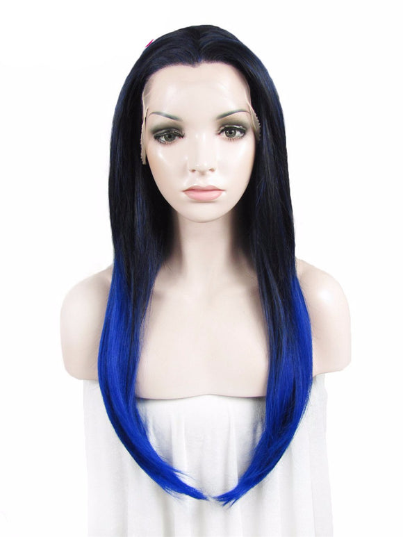 Hair marvel Straight Synthetic Dark Root Blue Omber Two Colour tone 24'' Lace Front Wig