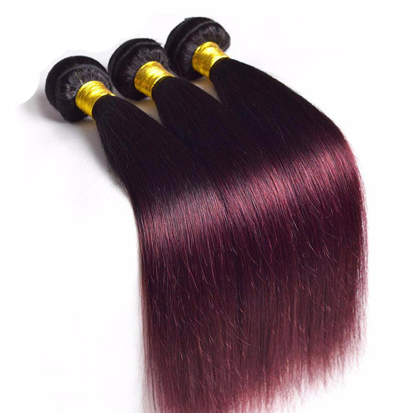 Hair Marvel Kiara Brazilian Straight Burgundy Tone 100% Human Hair Bundle Non Remy Hair