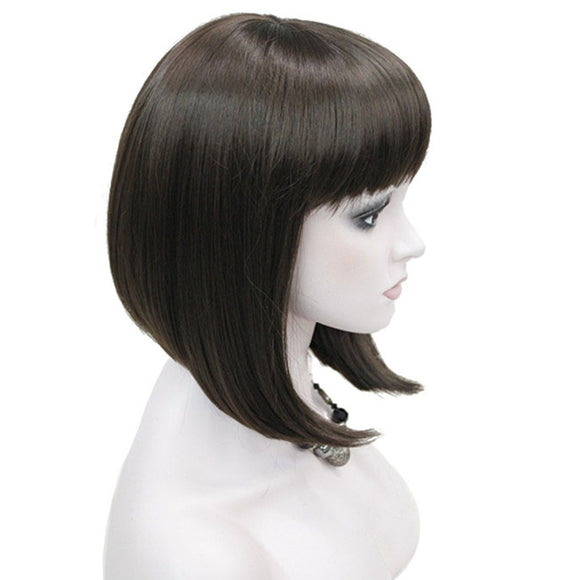 Hair Marvel Soft Sleek Straight Bang Bob Style Short Straight Hair Black/Blonde Synthetic Full Wig 6 Colours Available