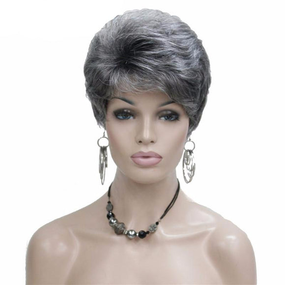 Hair Marvel Jane Pixie Cut Short Wave Natural Blonde/Silver Grey Wig With Bangs 4 colours