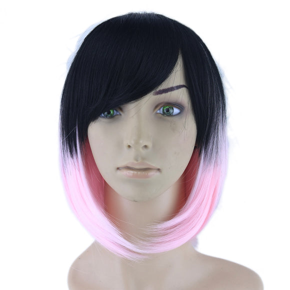 Hair Marvel Two Tone Black to Pink Cosplay Sleek Straight Short Bob Synthetic Hair Heat Resistant Hair Wig