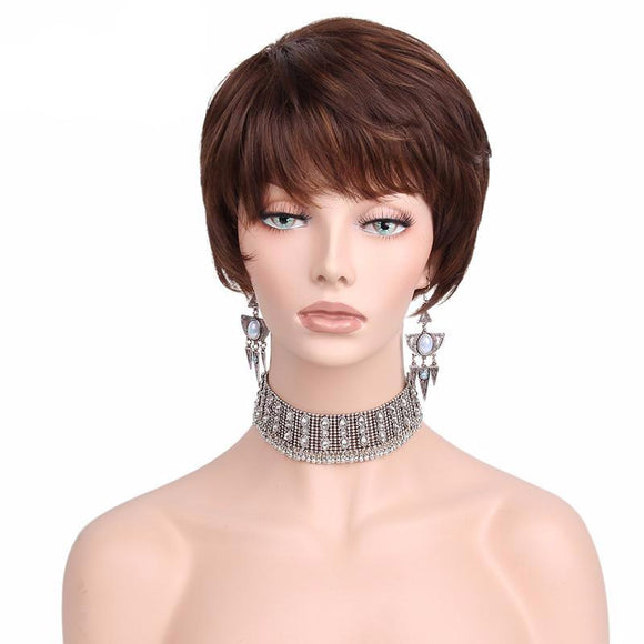 Hair Marvel Melanie Brown Short Pixie Natural Wave Hair Bob Wig