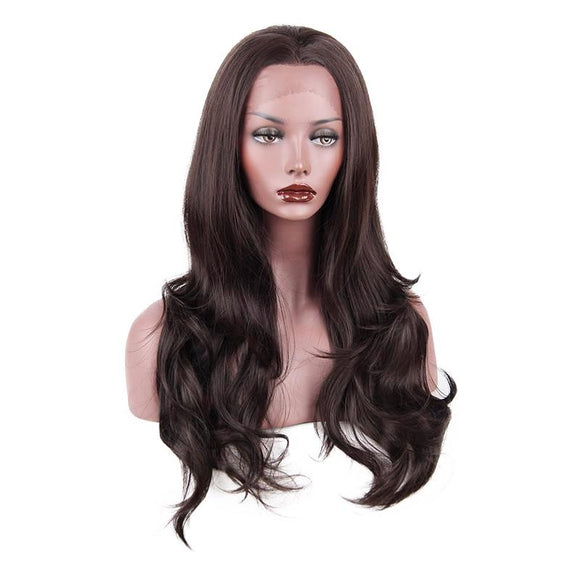 Hair Marvel Synthetic Lace Front Wigs Heat Resistant Long Wavy Brunette Black Wig