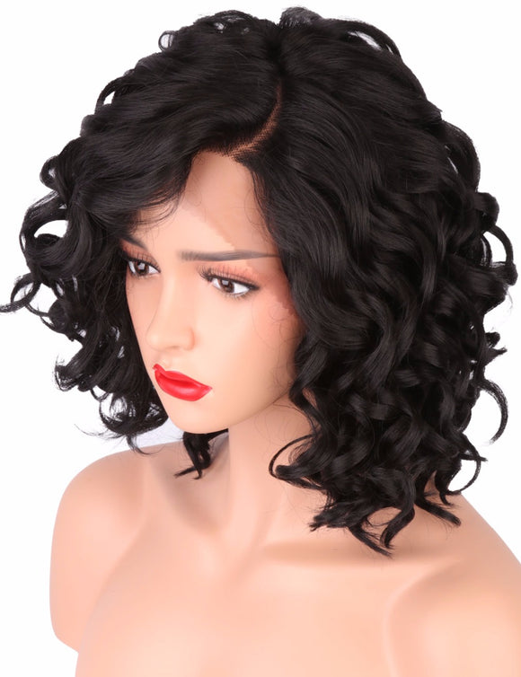 Hair Marvel Short Bob Wig Loose Body Wave Synthetic Lace Front Wig L Shapped with Natural Cure with Soft Hairline
