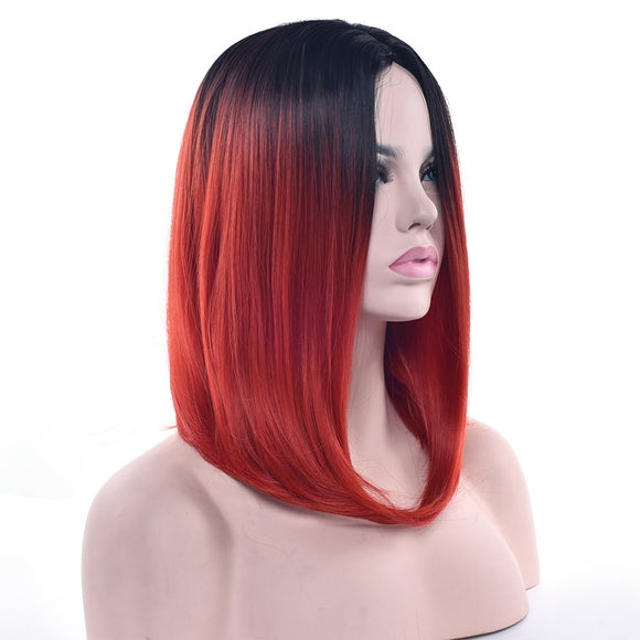 Hair Marvel Sue Synthetic Hair Black To Red Hair Short Straight Bob Wig High Temperature Long Bob 11 Colours Available