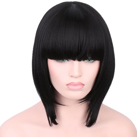 Hair Marvel Short Bob Kinky Straight Fiber Hair With Bang High Temperature Machine Made Synthetic Wigs