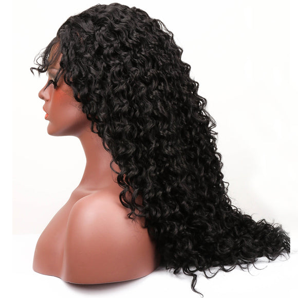 Hair Marvel Natural Long Kinky Deep Water Wave Soft Curly Fiber Heat Resistant Synthetic Lace Front Wigs With Baby Hair