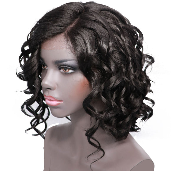 Hair Marvel Short Curly Bob Synthetic Deep Wave Wig Side Part Natural Black Hair Heat Resistant Lace Front Wig