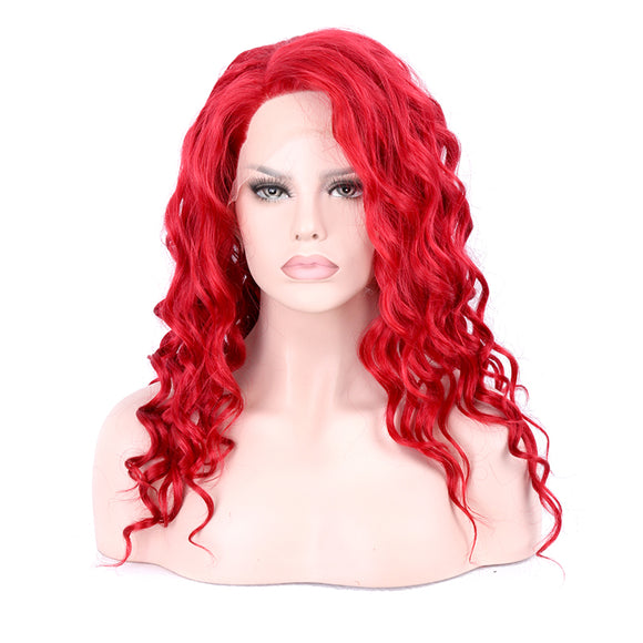 Hair Marvel Synthetic Wigs Lace Front Wig Long Flaming Red Body Wave Glueless Fiber Hair With Side Parting