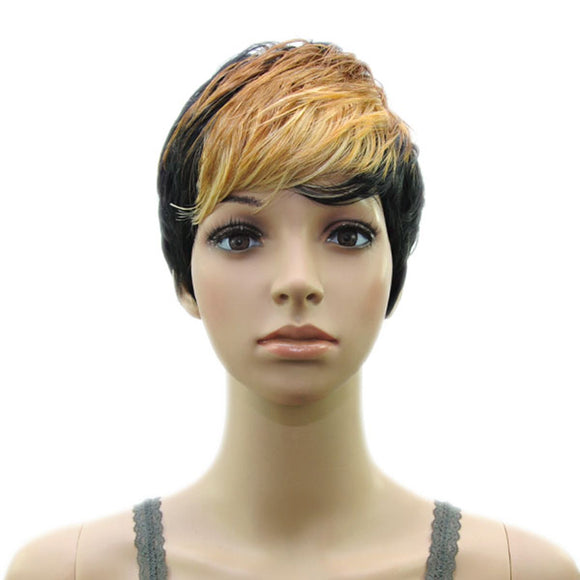 Hair Marvel NeNe Layered Curly Two Tone Ombre Premium Synthetic Pixie Cut Wig