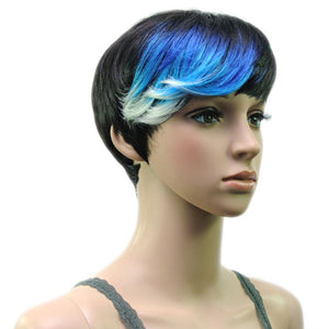 Hair Marvel Gwen Multi Ombre Black Blues Greys Whites Tones Short Wig