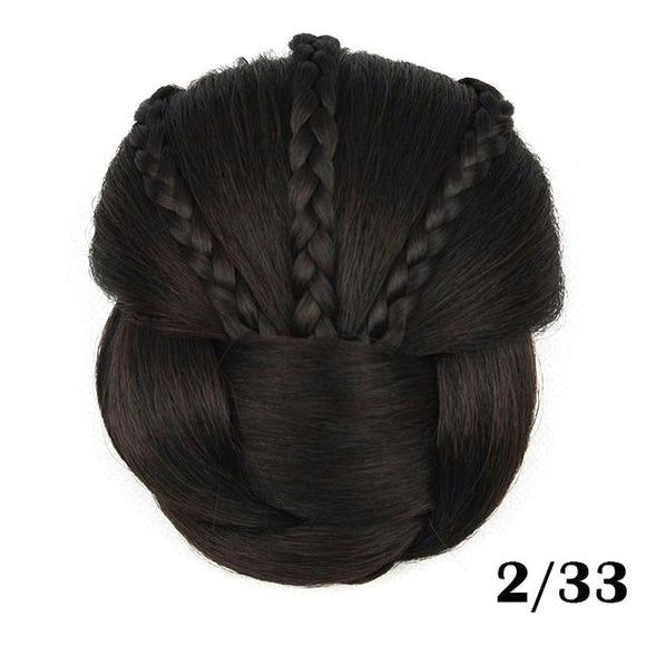 Hair Marvel Women's Braided Clip In Synthetic Hair Chignon Bun