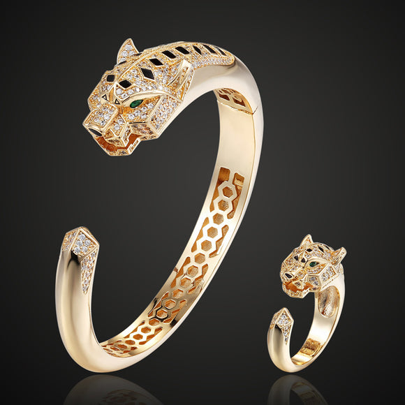 Statement Men Bangles Tiger Animal Bangle &Ring Jewelry cubic Zircon Love Bangle Anel Men copper Anniversary Jewelry