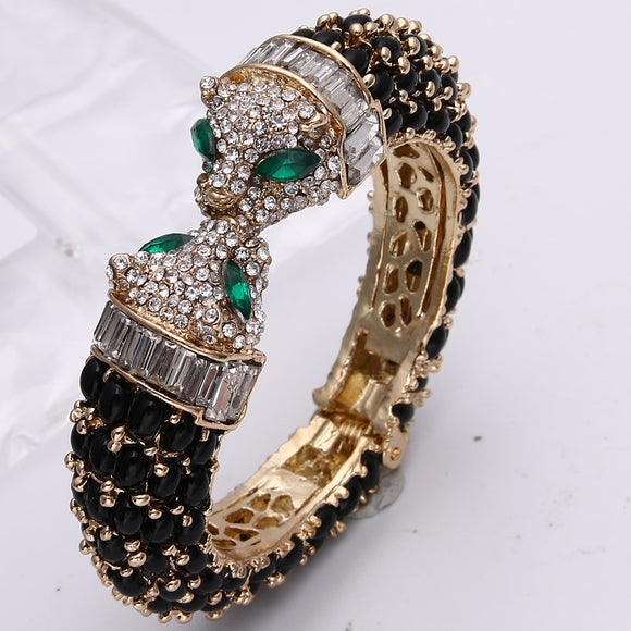 Fashion Black Panther Leopard Kiss Bangles & Bracelets Austrian Crystal Rhinestone Animal Bangle Cuff For Party Jewelry