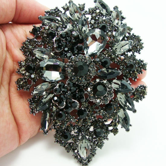 Romantic black Brooch Art Of Rhinestone Plum Flower Group Crystal Brooches Pin Pendant