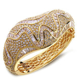 New Unique Fashion Women Banquet Party Luxury Wedding Jewelry White Color AAA Cubic Zirconia Micro Pave Setting Bangles