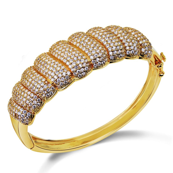 Ladies Fashion vintage Round Shape Brass Bracelet Micro Pave Setting AAA+ Cubic Zircon Bangle