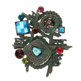 Multicolor Stone Scarf Clip Vintage Brooches for Women Antique Ethnic Retro Irregular Geometric Brooch Jewelry Unisex Brooch