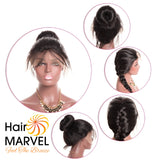 Hair Marvel Emilia Premium Brazilian Natural Black Straight Pre Plucked Full 360° Lace Wig
