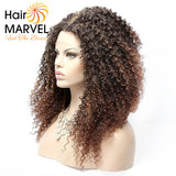 Hair Marvel Shakira Premium Kinky Curly Lace Front Ombre Natural Hairline Middle Part Wig