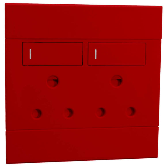 2VR222 2x16A Double Dedicated Socket Outlet 100x100mm Red Veti2