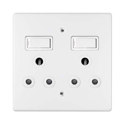 Double Switch Socket + Cover 4X4 Crabtree