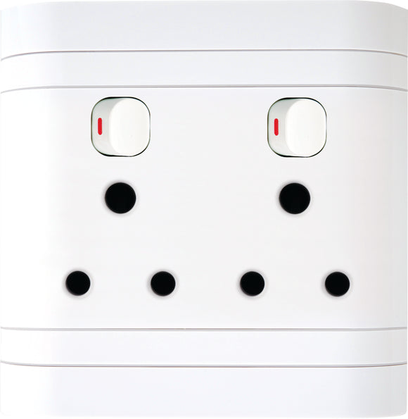 Double Switch Socket 4X4 Lesco