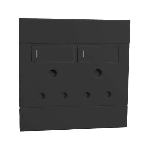 2VC222 2x16A Double Socket Outlet 100x100mm Charcoal Veti2