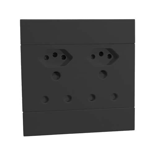 2VC224 2x16A + 2x Euro Slim Socket Outlet 100x100mm Charcoal Veti2