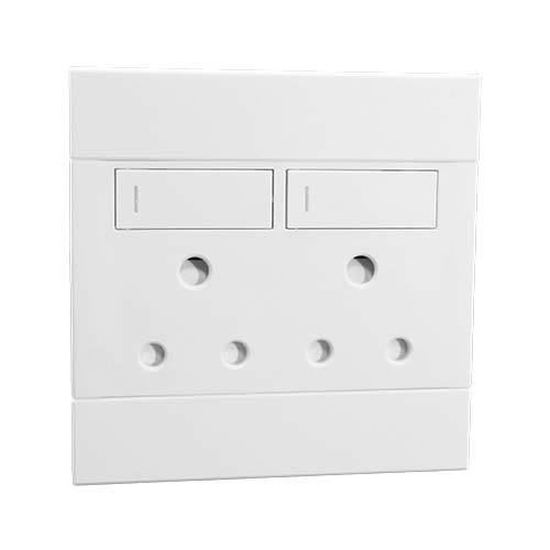 2VW222 2x16A Double Socket Outlet 100x100mm White Veti2