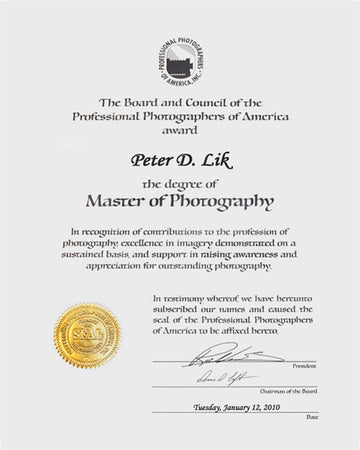 The Professional Photographers of America, Master of Photography Award, presented to Peter Lik in 2009.
