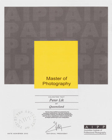 Australian Institute of Professional Photographers, Master of Photography Award, presented to Peter Lik in 2002.