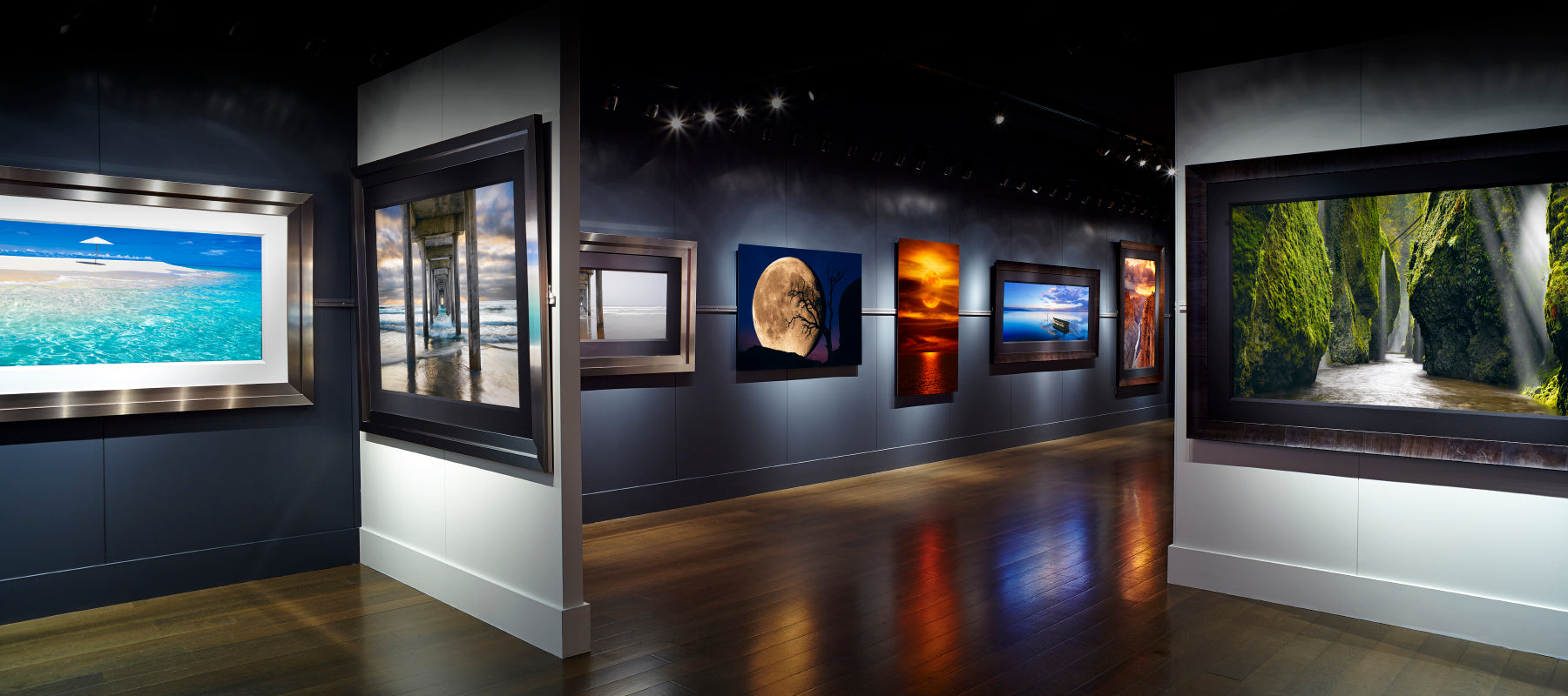 LIK Fine Art Gallery interior with white and gray walls and brown wood floors displaying framed photography by Peter Lik