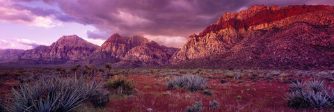 Brush filled desert below the cloud covered sandstone peaks of Red Rock Canyon Nevada